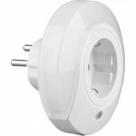 Stekkerlamp Lamp - Stekkerspot met Stopcontact - Trion Mirloni - 0.4W - Warm Wit 3000K - Rond - Mat Wit - Kunststof