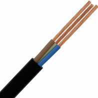Stroomkabel - 3x1.5mm - 3 Aderig - 1 Meter - Zwart