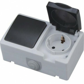 Buitenstopcontact - Enkelpolige Schakelaar - Opbouw - Enkel/Enkel - Geaard - Waterdicht IP54