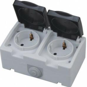 Buitenstopcontact - Opbouw - Dubbel - Geaard - Waterdicht IP54
