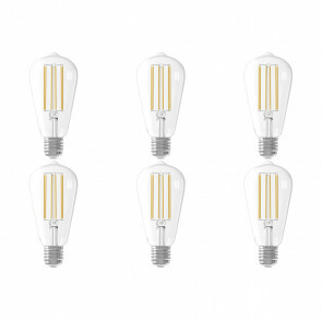 CALEX - LED Lamp 6 Pack - Filament ST64 - E27 Fitting - Dimbaar - 4W - Warm Wit 2300K - Transparant Helder