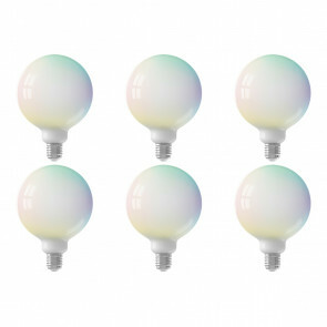 CALEX - LED Lamp 6 Pack - Globe - Smart LED G125 - E27 Fitting - Dimbaar - 5W - Aanpasbare Kleur - RGB - Mat Wit