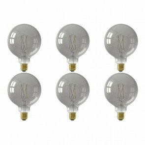 CALEX - LED Lamp 6 Pack - Globe - Smart LED G125 - E27 Fitting - Dimbaar - 7W - Aanpasbare Kleur - Grijs