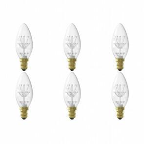 CALEX - LED Lamp 6 Pack - Kaarslamp B35 - E14 Fitting - 1W - Warm Wit 2100K - Transparant Helder
