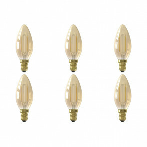 CALEX - LED Lamp 6 Pack - Kaarslamp Filament B35 - E14 Fitting - 2W - Warm Wit 2100K - Goud