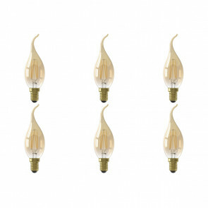 CALEX - LED Lamp 6 Pack - Kaarslamp Filament BXS35 - E14 Fitting - 3.5W - Warm Wit 2100K - Goud