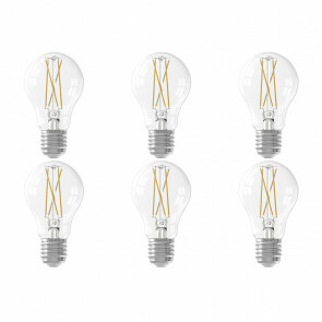 CALEX - LED Lamp 6 Pack - Smart LED A60 - E27 Fitting - Dimbaar - 7W - Aanpasbare Kleur - Transparant Helder