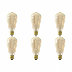 CALEX - LED Lamp 6 Pack - Smart LED ST64 - E27 Fitting - Dimbaar - 7W - Aanpasbare Kleur - Goud