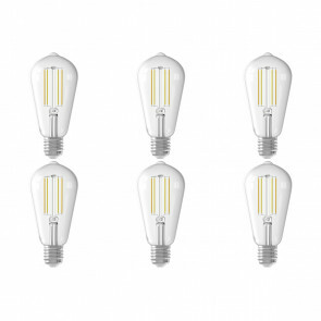 CALEX - LED Lamp 6 Pack - Smart LED ST64 - E27 Fitting - Dimbaar - 7W - Aanpasbare Kleur - Transparant Helder