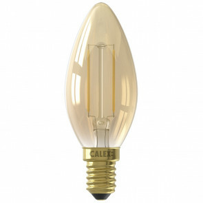 CALEX - LED Lamp - Kaarslamp Filament B35 - E14 Fitting - 2W - Warm Wit 2100K - Goud