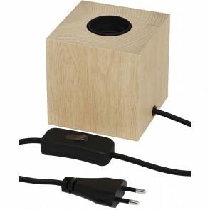 CALEX - LED Tafellamp - Tafelverlichting - Raho - E27 Fitting - Vierkant - Mat Bruin - Hout