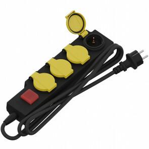 CALEX - Verlengsnoer met Schakelaar - 3680W - Waterdicht - 4 Stopcontacten - 1.4 Meter - Zwart | Nederland