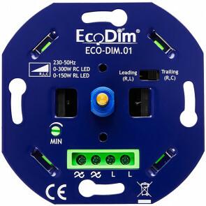 EcoDim - LED Dimmer - ECO-DIM.01 - Fase Aan- en Afsnijding RLC - Inbouw - Enkel Knop - 0-300W