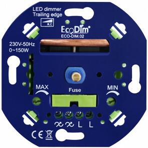 EcoDim - LED Dimmer - ECO-DIM.02 - Fase Afsnijding RC - Inbouw - Enkel Knop - 0-150W - Zekering
