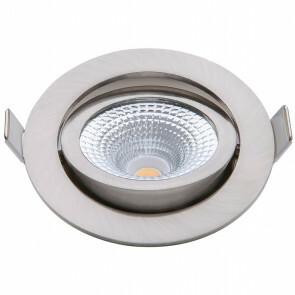 EcoDim - LED Spot - Inbouwspot - ED-10024 - 5W - Waterdicht IP54 - Dimbaar - Dim to Warm - Warm Wit 2000K-3000K - Geborsteld Nikkel - Aluminium - Rond - Kantelbaar