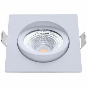 EcoDim - LED Spot - Inbouwspot - ED-10025 - 5W - Waterdicht IP54 - Dimbaar - Dim to Warm - Warm Wit 2000K-3000K - Mat Wit - Aluminium - Vierkant - Kantelbaar