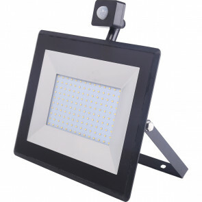 LED Bouwlamp 100 Watt met sensor - LED Schijnwerper - Aigi Sunny - Helder/Koud Wit 6400K - Waterdicht IP65 - Mat Zwart - Aluminium