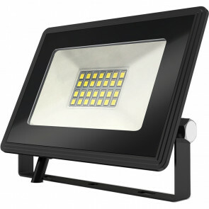 LED Bouwlamp 20 Watt - LED Schijnwerper - Aigi Iglo - Helder/Koud Wit 6400K - Waterdicht IP65 - Mat Zwart - Aluminium