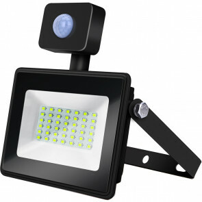 LED Bouwlamp 30 Watt met sensor - LED Schijnwerper - Aigi Sunny - Helder/Koud Wit 6400K - Waterdicht IP65 - Mat Zwart - Aluminium