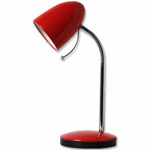 LED Bureaulamp - Aigi Wony - E27 Fitting - Flexibele Arm - Rond - Glans Rood