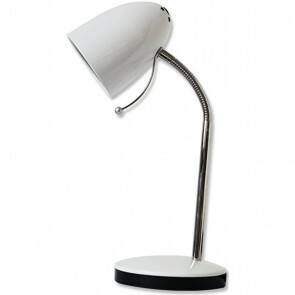 LED Bureaulamp - Aigi Wony - E27 Fitting - Flexibele Arm - Rond - Glans Wit