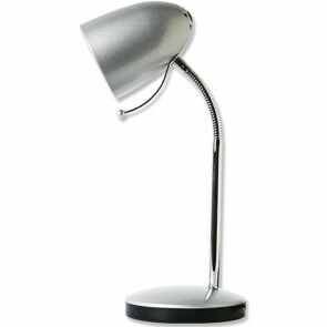 LED Bureaulamp - Aigi Wony - E27 Fitting - Flexibele Arm - Rond - Glans Zilver