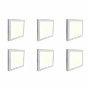 LED Downlight 6 Pack - Opbouw Vierkant 12W - Natuurlijk Wit 4200K - Mat Wit Aluminium - 170mm