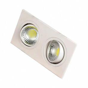 LED Downlight - Inbouw Rechthoek 10W - Helder/Koud Wit 6400K - Mat Wit Aluminium - Kantelbaar 175x93mm