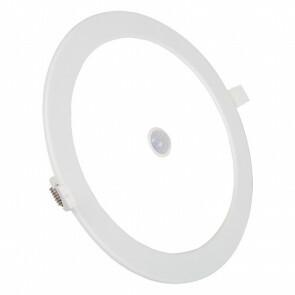 LED Downlight Slim - Aigi - PIR Bewegingssensor - Inbouw Rond 12W - Helder/Koud Wit 6000K - Mat Wit Aluminium - Ø170mm