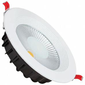 LED Downlight - Verona - Inbouw Rond 30W - Waterdicht IP65 - Helder/Koud Wit 6400K - Mat Wit Aluminium - Ø225mm