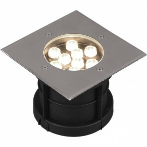 LED Grondspot - Trion Baliyi - Inbouw Vierkant - 9W - Waterdicht IP65 - Warm Wit 3000K - Mat Nikkel - RVS