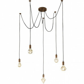 LED Hanglamp - Hangverlichting - Trion Cardino - E27 Fitting - 5-lichts - Rond - Antiek Koper - Aluminium