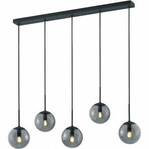 LED Hanglamp - Trion Balina - E14 Fitting - 5-lichts - Rechthoek - Mat Zwart - Aluminium