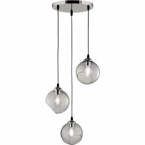 LED Hanglamp - Trion Klino - E27 Fitting - 3-lichts - Rond - Mat Chroom Rookkleur - Aluminium