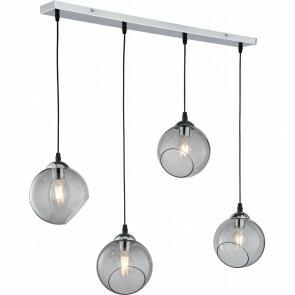 LED Hanglamp - Trion Klino - E27 Fitting - 4-lichts - Rond - Mat Chroom Rookkleur - Aluminium