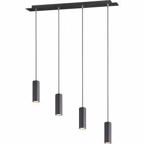 LED Hanglamp - Trion Mary - GU10 Fitting - 4-lichts - Rond - Mat Zwart Aluminium