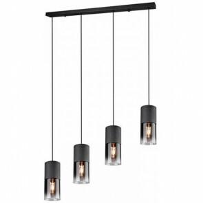 LED Hanglamp - Trion Roba - E27 Fitting - 4-lichts - Rond - Mat Zwart Rookglas - Aluminium