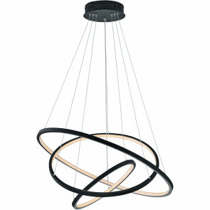 LED Hanglamp WiZ - Hangverlichting - Trion Noraan - 80W - Aanpasbare Kleur - RGBW - Rond - Mat Zwart - Aluminium