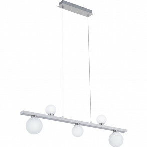 LED Hanglamp WiZ - Trion Dulpio - 15W - Aanpasbare Kleur - 5-lichts - Dimbaar - Rechthoek - Mat Nikkel - Aluminium