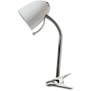 LED Klemlamp - Aigi Wony - E27 Fitting - Flexibele Arm - Rond - Glans Wit