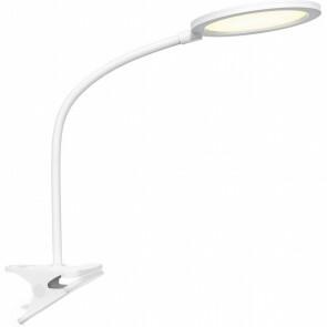 LED Klemlamp - Trion Arona - 7W - Natuurlijk Wit 4000K - Dimbaar - Rond - Mat Wit - Kunststof