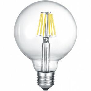 LED Lamp - Filament - Trion Globin XL - E27 Fitting - 8W - Warm Wit 2700K - Transparent Helder - Glas