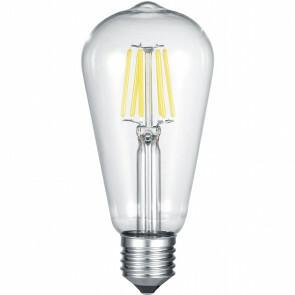 LED Lamp - Filament - Trion Kalon - E27 Fitting - 6W - Warm Wit 3000K - Transparent Helder - Aluminium