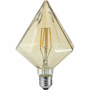 LED Lamp - Filament - Trion Krolin - E27 Fitting - 4W - Warm Wit 2700K - Amber - Aluminium