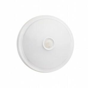 LED Plafondlamp met Bewegingssensor - Opbouw Rond 15W - Natuurlijk Wit 4000K - 360° - Mat Wit Kunststof
