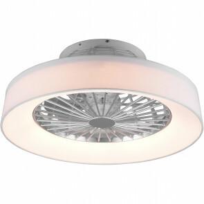 LED Plafondlamp met Ventilator - Plafondventilator - Trion Farali - 30W - Aanpasbare Kleur - Rond - Mat Wit - Kunststof