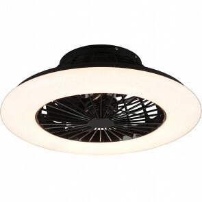 LED Plafondlamp met Ventilator - Plafondventilator - Trion Romina - 30W - Aanpasbare Kleur - Rond - Mat Zwart - Kunststof