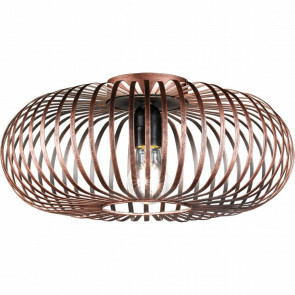 LED Plafondlamp - Plafondverlichting - Trion Johy - E27 Fitting - Rond - Industrieel Mat Koper Aluminium