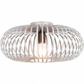 LED Plafondlamp - Plafondverlichting - Trion Johy - E27 Fitting - Rond - Industrieel Mat Zilver Aluminium