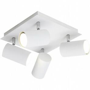 LED Plafondlamp - Plafondverlichting - Trion Mary - GU10 Fitting - 4-lichts - Vierkant - Mat Wit - Aluminium